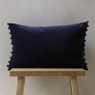 Cotton Velvet Cushion with Pom Poms - Midnight