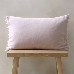 Cotton Velvet Cushion with Pom Poms - Blush Pink