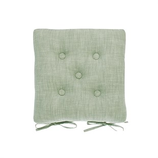 Chambray Seat Pad With Ties Moss Green