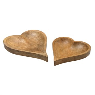 Heart wooden trays set of 2