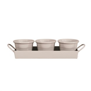 Set of 3 Pots and Tray - Chalk