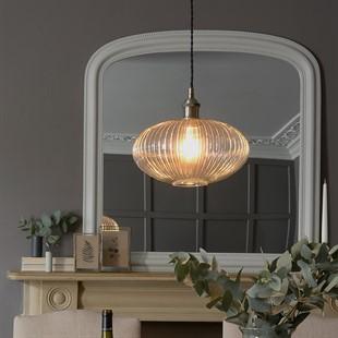 Aston Ribbed Glass Oval Pendant