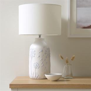 Dandelion Etched Lamp - Light Blue