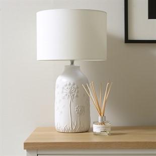 Dandelion Etched Lamp - Soft Grey