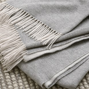 Throw With Cashmere - Mid Grey