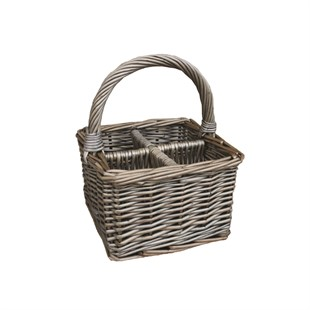 Antique Wash Square 4 Section Cutlery Basket