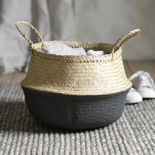 Grey dipped seagrass basket 40x31cm