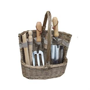 Small Antique Wash Deluxe Garden Tool Basket