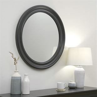 NEW Chantilly Dusky Black Round Mirror