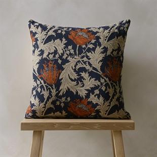 William Morris Anemone - Blue Rust Cushion