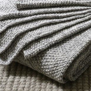 Wool Mix Knitted Throw - Grey