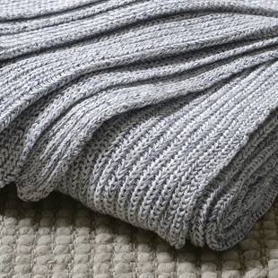 Knitted Throw - Blue and White