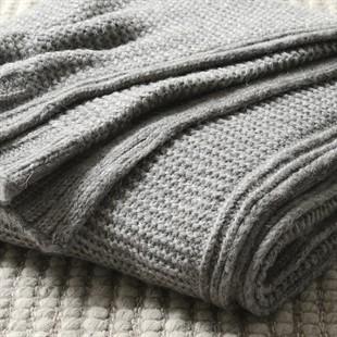 Lenny Chunky Knitted Throw Grey