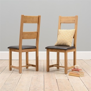 Oakland Ladderback Chair - Leather Seat Pad