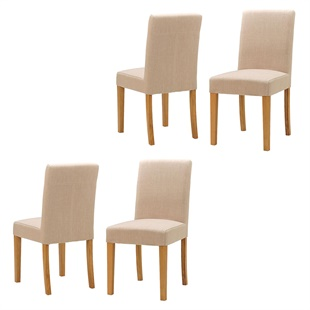 Set of 4 Aster Straight Back Chairs - Cream