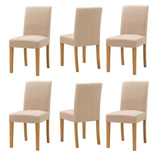 Set of 6 Aster Straight Back Chairs - Stone