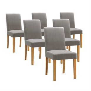 Set of 6 Aster Straight Back Chairs - Grey