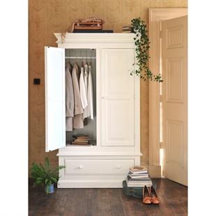 Burford Warm White Double Wardrobe with Drawer