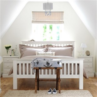 """Burford Warm White 4ft 6"""" Double Bed"""