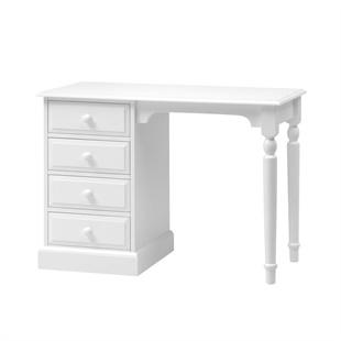 Burford Soft White Single Pedestal Dressing Table / Desk