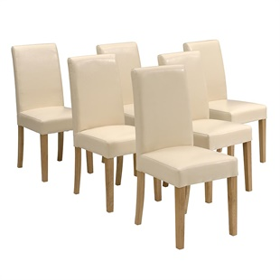 Set of 6 Aster Straight Back Leather Chairs - Cream