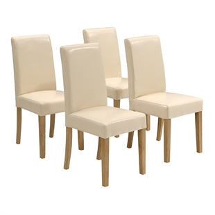 Set of 4 Aster Straight Back Leather Chairs - Cream