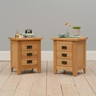 Oakland 3 Drawer Bedside Cabinets - Set of 2
