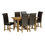 Oakland 130cm 160cm Ext Table And 6 Rollback Chairs The