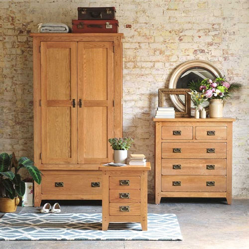 Oakland Double Wardrobe Bedroom Set Rustic Oak Fully Assembled Ebay