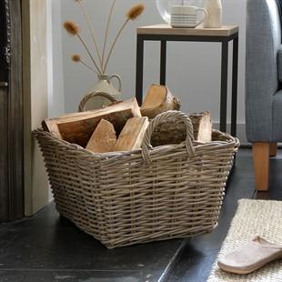 Grey Kubu Rectangular Basket