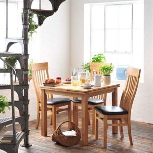 Light Oak 90cm-155cm Square Extending Dining Table