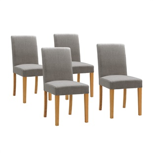 Set of 4 Aster Straight Back Chairs - Grey