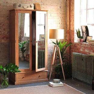 Appleby Oak Double Wardrobe with Mirrors