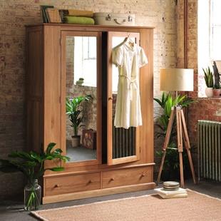 Appleby Oak Wide Double Wardrobe with Mirrors